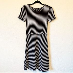 Madewell Black and White Striped T-Shirt Dress